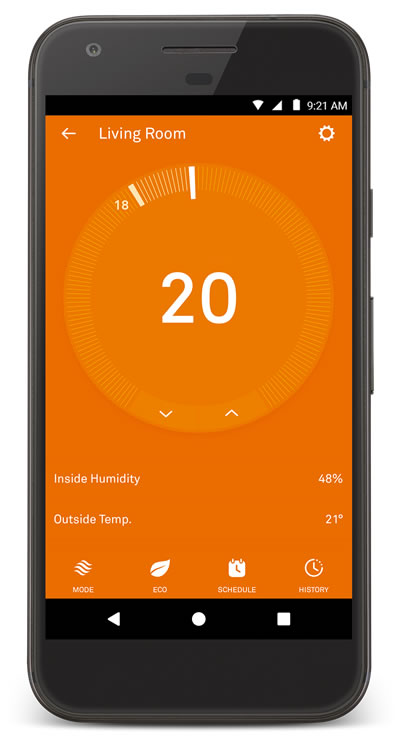 nest phone control for heating